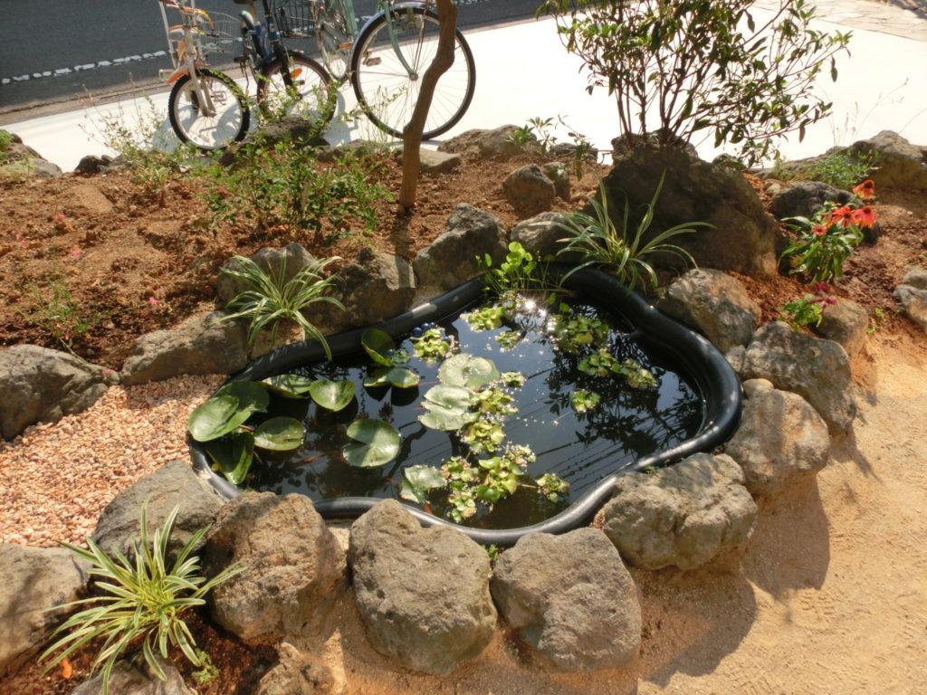 池の楽しみ|東京都八王子市 A様邸の外構、エクステリア、植栽工事