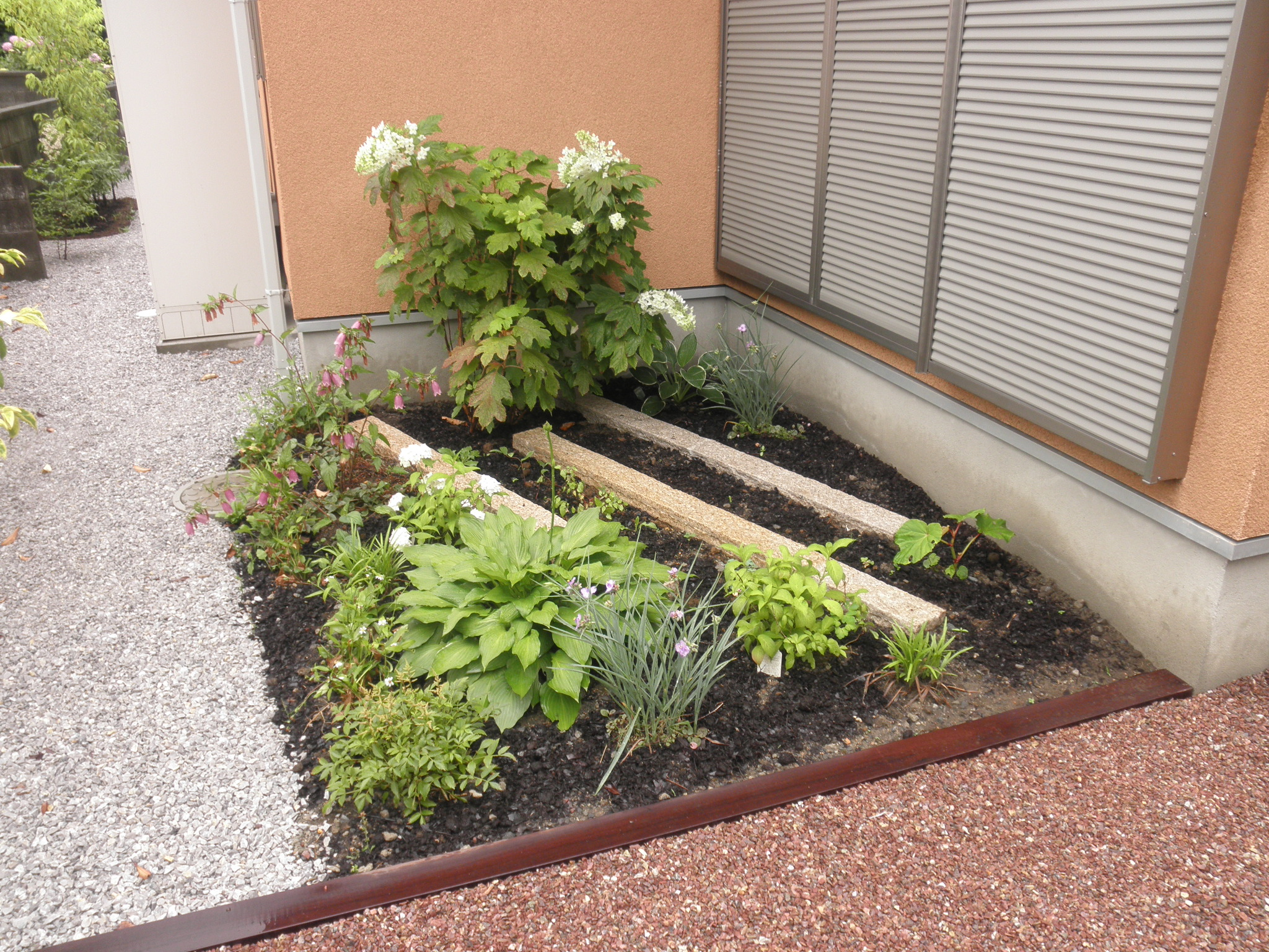 建物裏手の坪庭|埼玉県熊谷市 O様邸のエクステリア、植栽工事