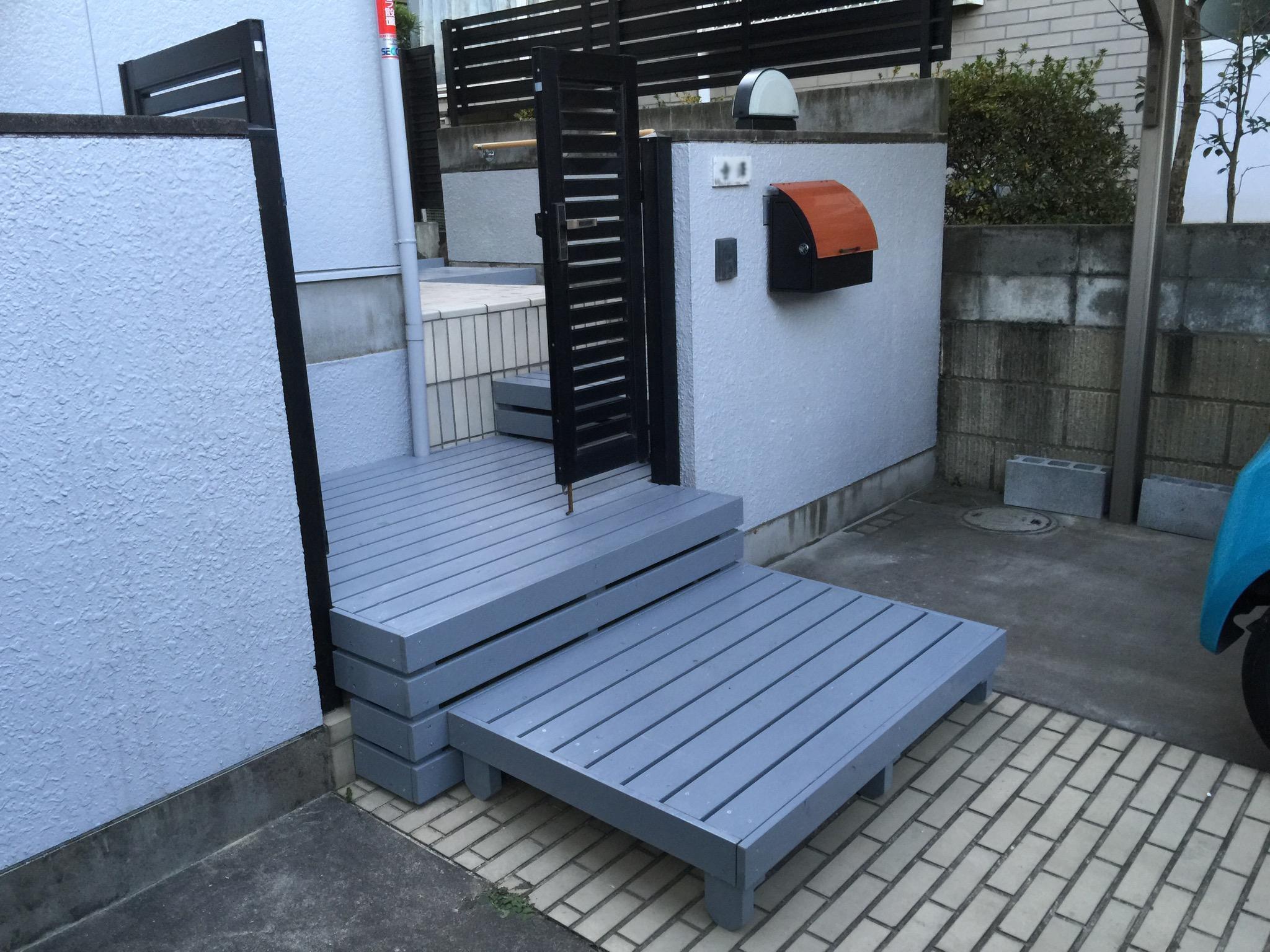 車椅子のための木製ステップによる段差解消|埼玉県東松山市のT様邸の福祉住環境整備工事