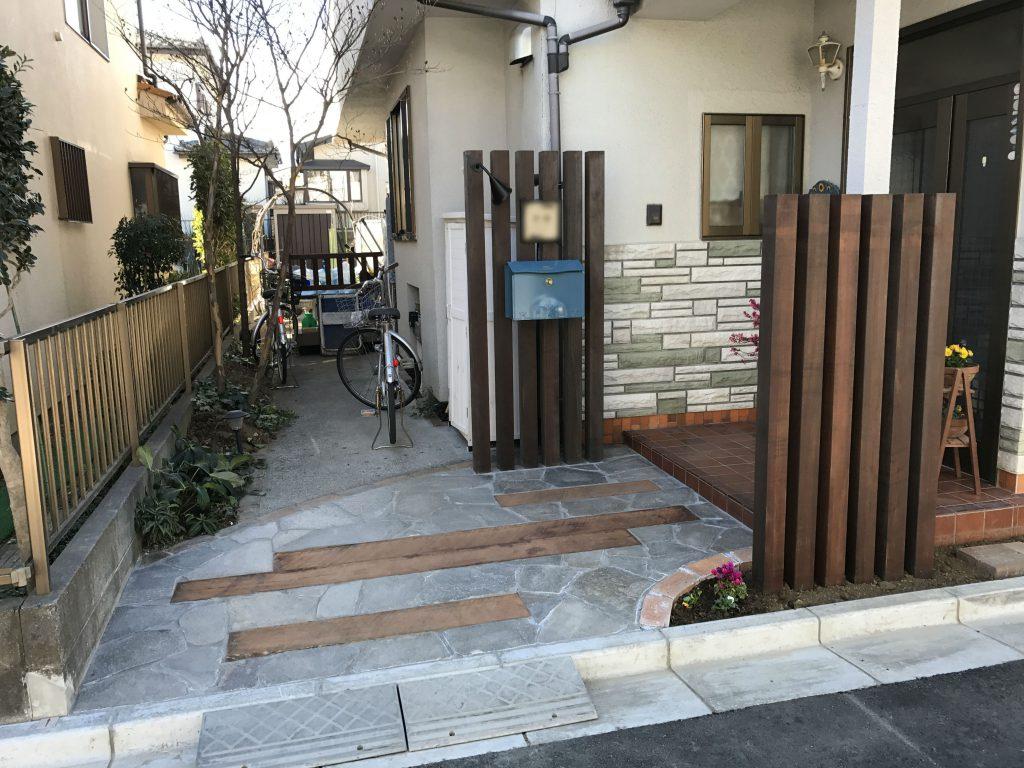 区画整理に伴うエントランス部の改修工事 | 埼玉県入間市のK様邸のエクステリア、外構工事