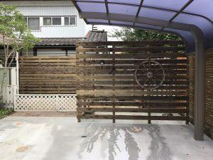 ガーデンリフォームに伴う木製目隠しフェンス
