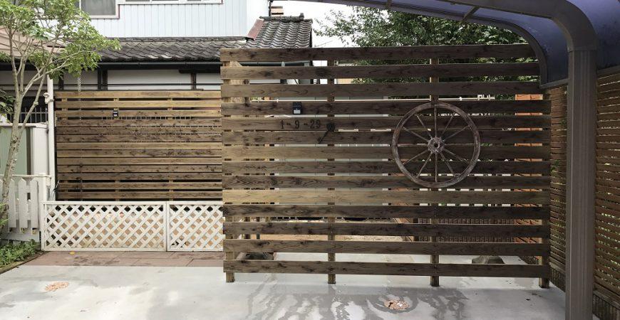ガーデンリフォームに伴う木製目隠しフェンス | 埼玉県秩父市のH様邸の外構工事・エクステリア