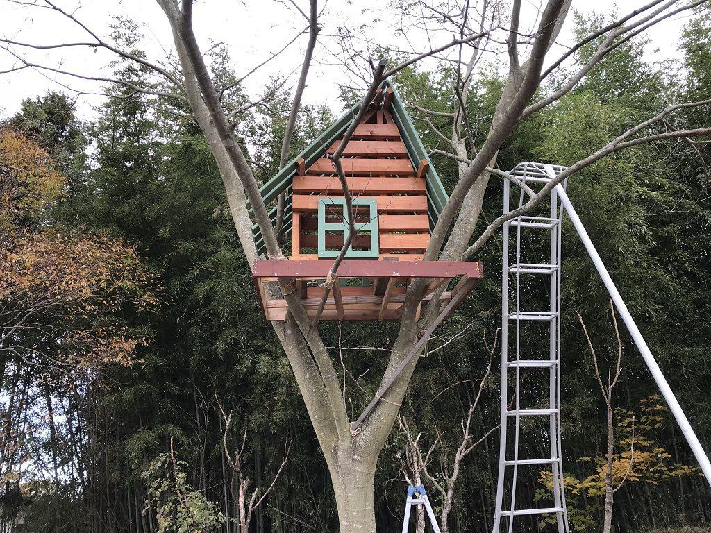 点灯前のツリーハウス