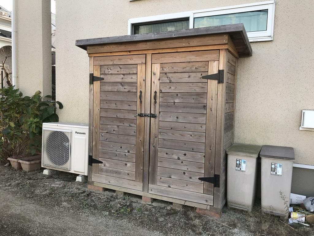 ハンドメイドの木製物置|埼玉県比企郡滑川町のS様邸の外構リフォーム