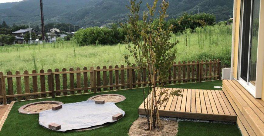 天然石と木材をふんだんに使ったナチュラルガーデン|埼玉県秩父郡長瀞町・M様邸のお庭の外構・植栽・エクステリア工事